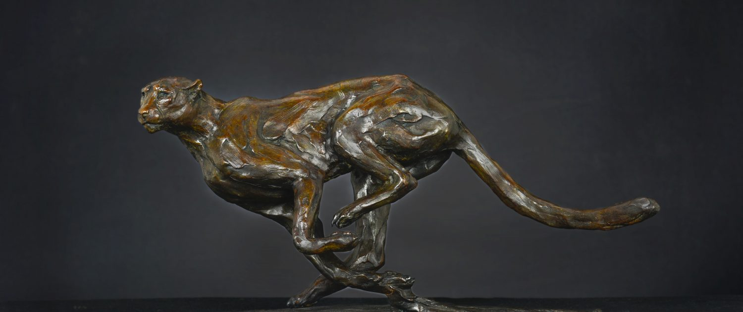 Bruce Little, bronze sculpture, leopard, Agility
