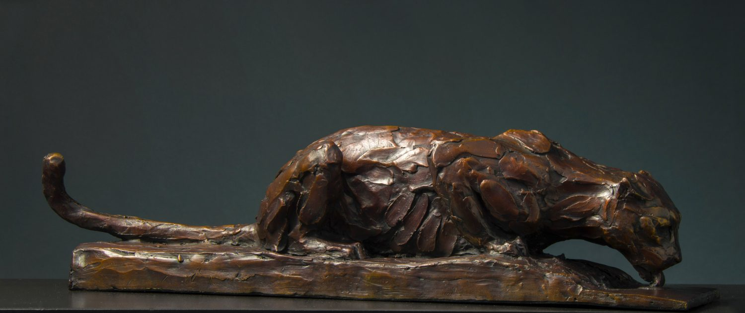 Bruce Little, bronze sculpture, Drinking Leopard II