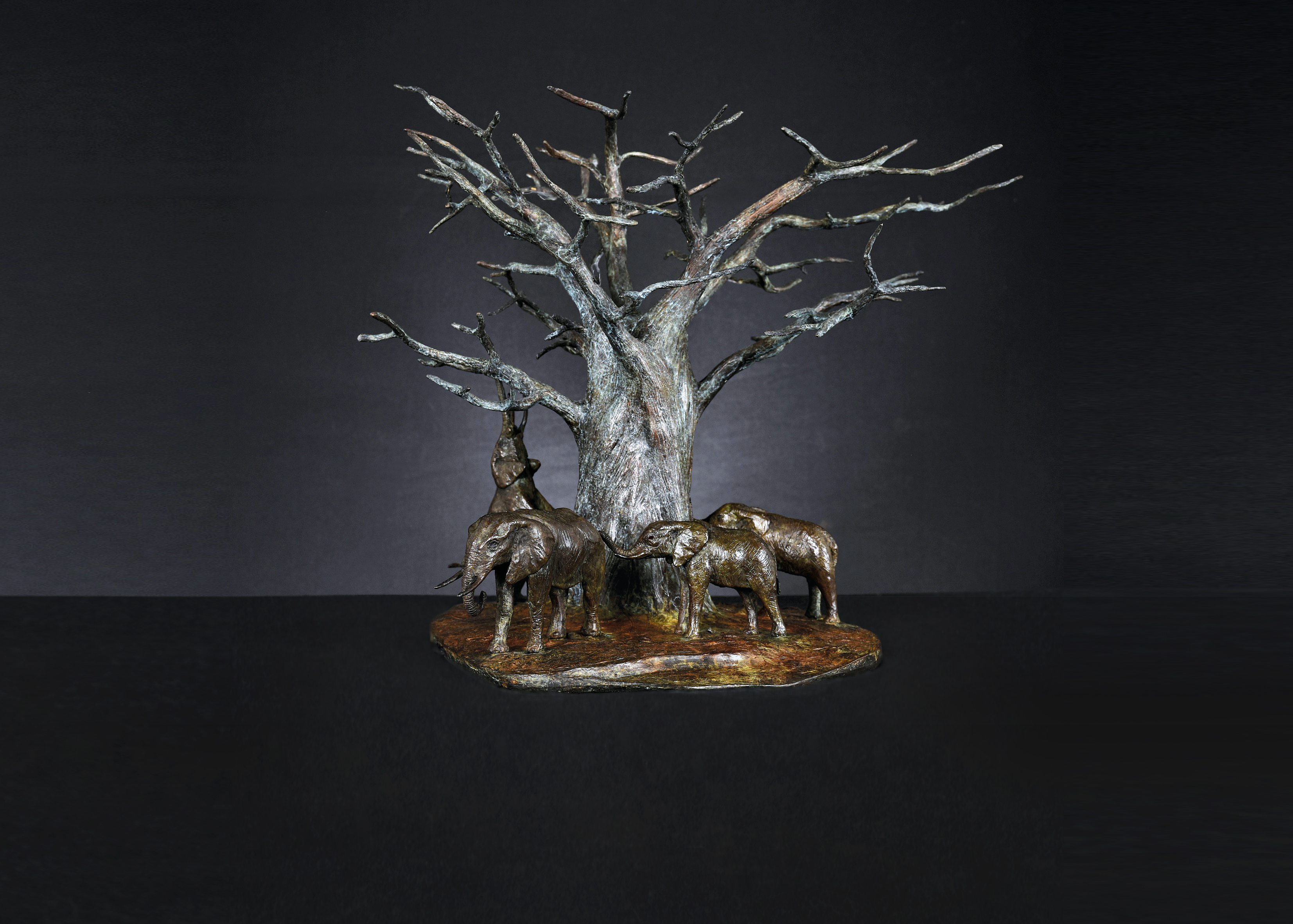 Bruce Little, bronze sculpture of a elephants around a Baobab tree