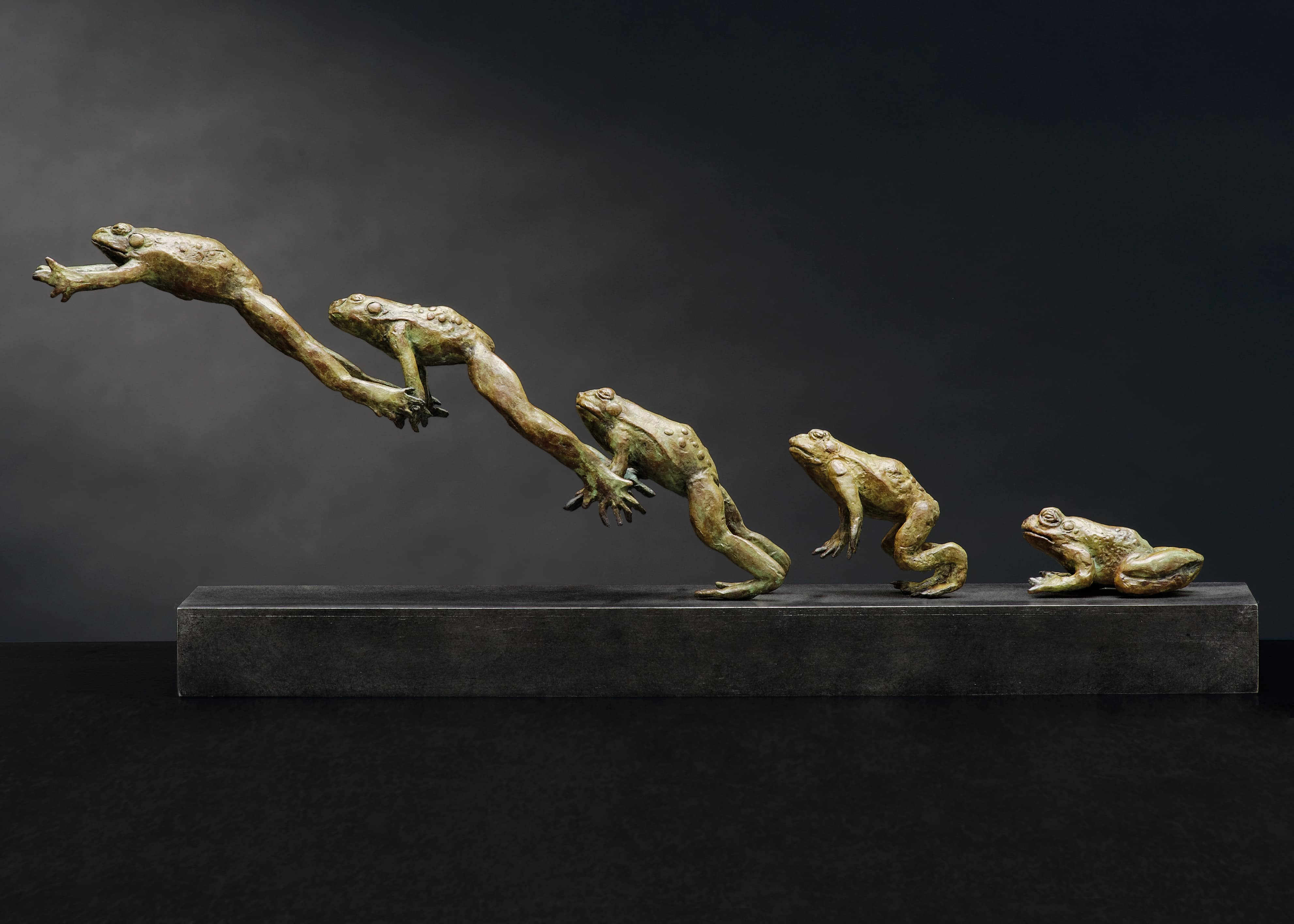 Bruce Little, bronze sculpture of a frog in jumping action