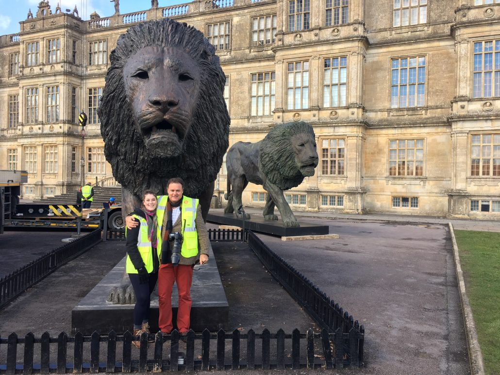 Bruce Little, Dawn Patrol. 8 metres-long bronze lion sculpture. Commissioned by Ceawlin Thynn, Viscount Weymouth of the Longleat Family Estate.